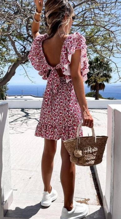 Rochie Ozana cu Imprimeu Floral, Rosu [2]