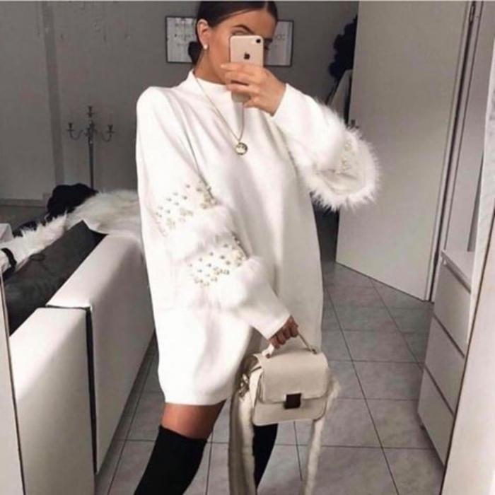 Rochie pulover Anais alba 0