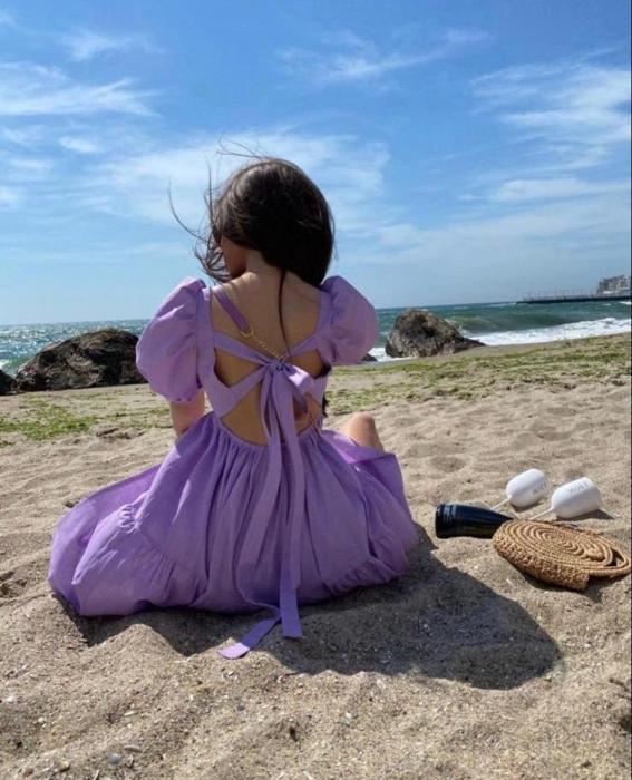 Rochie Purple cu fundite la spate 0