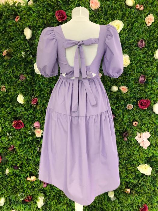 Rochie Purple cu fundite la spate 3
