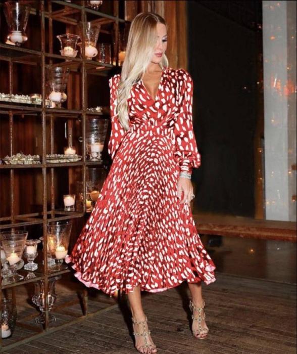 Rochie rosie lunga cu imprimeu 0