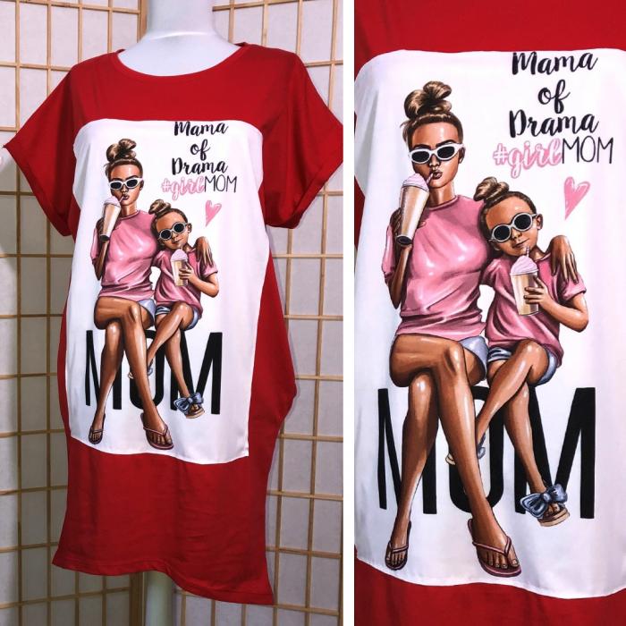 "Rochie tip tricou lung rosie ""Mama of drama"" 0"