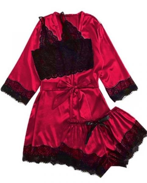 Set Pijama de Dama 3 Piese Negru [0]