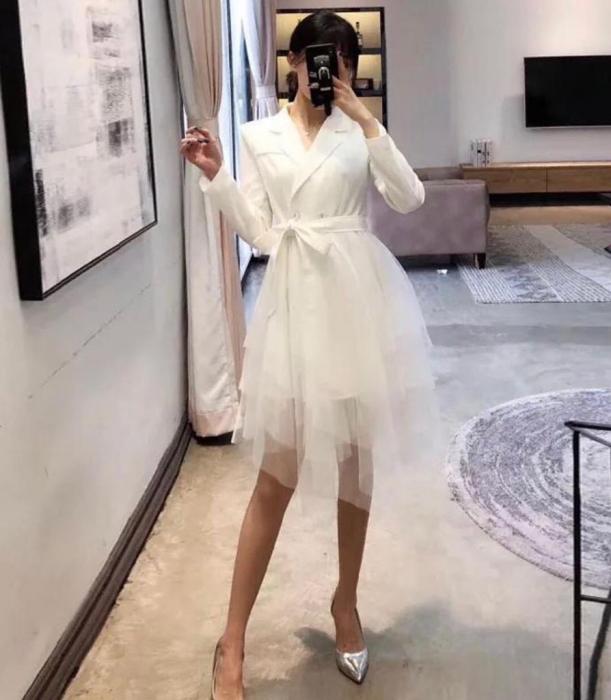 Set sacou alb lung + fusta din tulle 1
