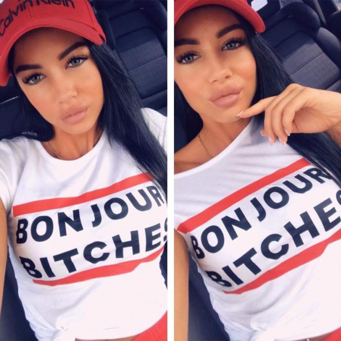 Tricou alb cu imprimeu Bonjour Bitch*s 0