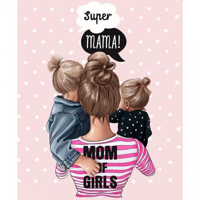 Tricou Bumbac Copii  Mom of girls 1