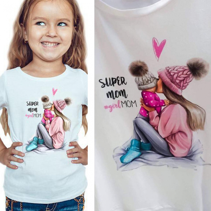 Tricou copii alb cu imprimeu Girl mom 0