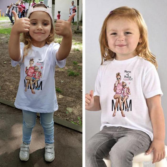 Tricou copii alb cu imprimeu Mama of drama 0