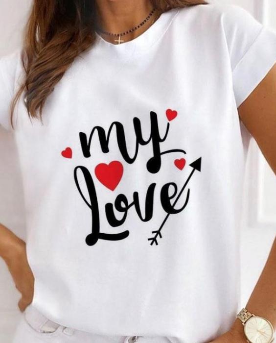 Tricou White din Bumbac My Love 0