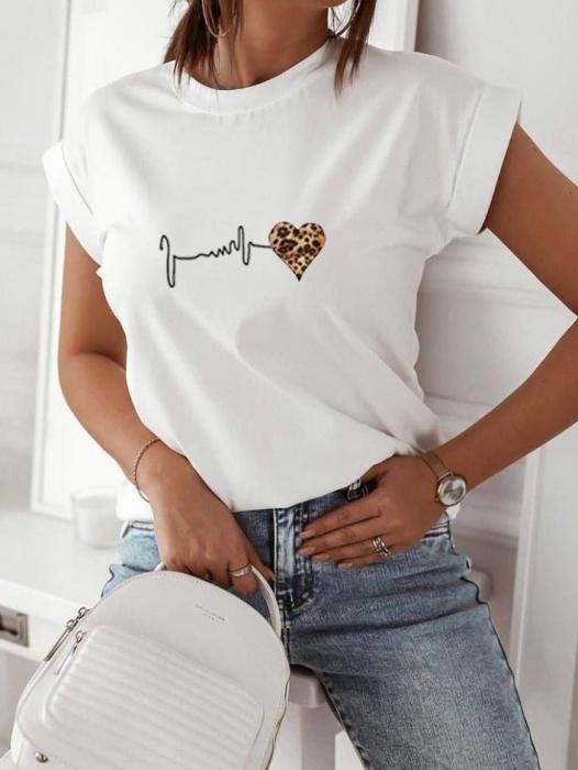 Tricou White din Bumbac Cu Imprieu Heart [0]