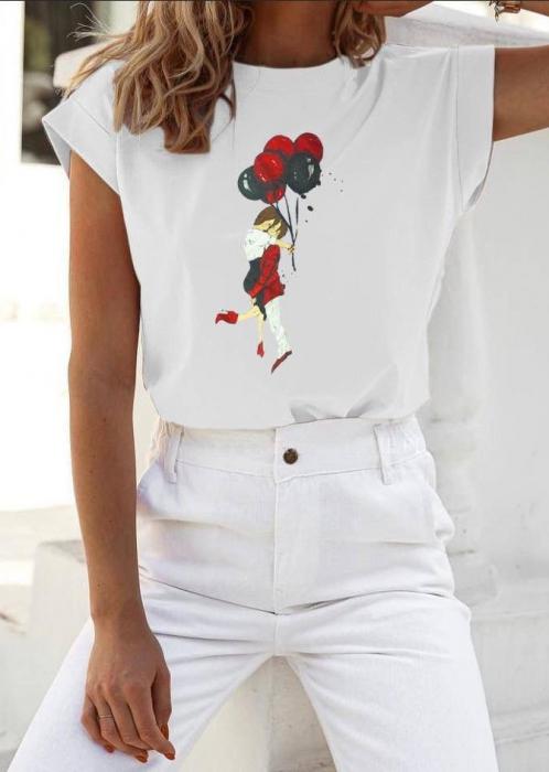 Tricou White din Bumbac Cu Imprimeu Lovers [0]