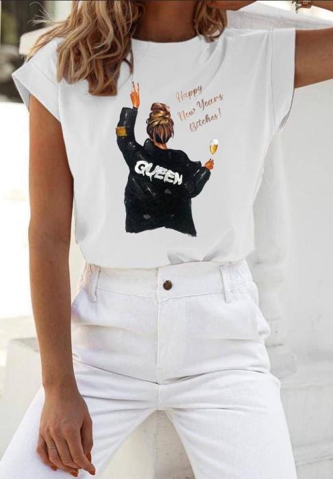 Tricou White din Bumbac Cu Imprimeu Queen [0]