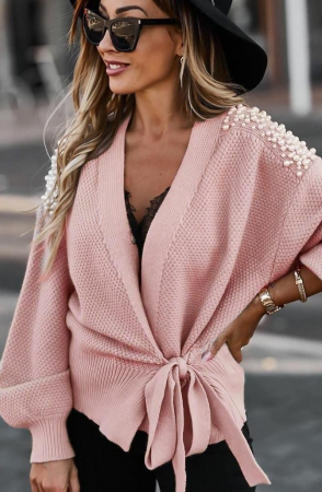 Cardigan Pink cu Perle [0]