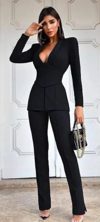 Costum Negru cu Corset Detasabil Judy [2]
