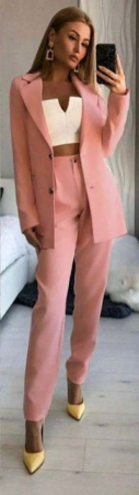 Compleu Pantaloni + Sacou Roz Noella [2]