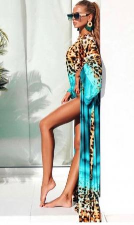 Costum de Baie + Pareo Asortat, Turcoaz cu Model Animal Print [1]