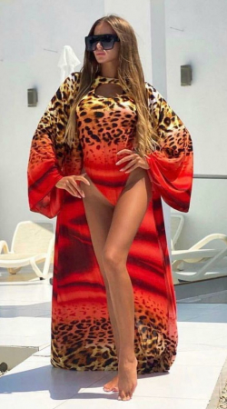 Costum de Baie + Pareo Asortat, Rosu cu Model Animal Print [0]