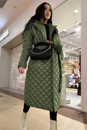 Palton Lung Kaki Matlasat + Curea Detasabila Novia [1]