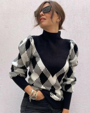 Pulover Berta negru/alb1