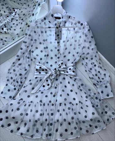 Rochie alba cu buline Ivy0