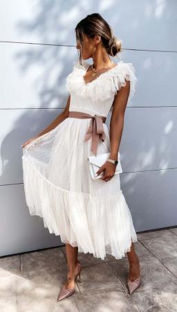 Rochie Midi Tulle Rosalia White [6]