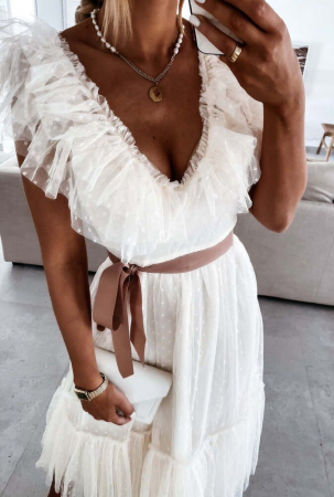 Rochie Midi Tulle Rosalia White [1]