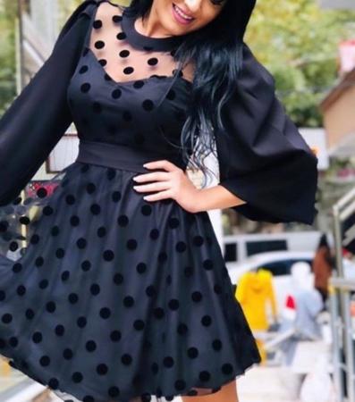 Rochie neagra cu buline Mina0