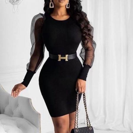 Rochie neagra cu maneci transparente0