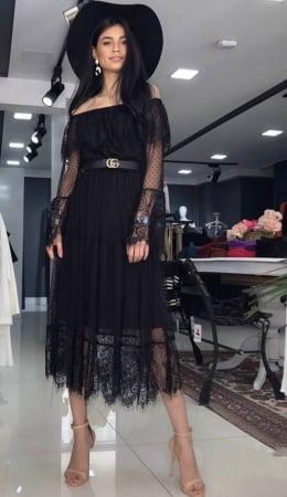 Rochie neagra din dantela cu maneca lunga0