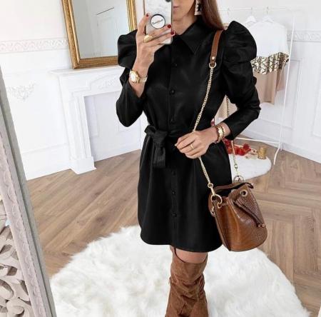Rochie neagra mini din piele ecologica0