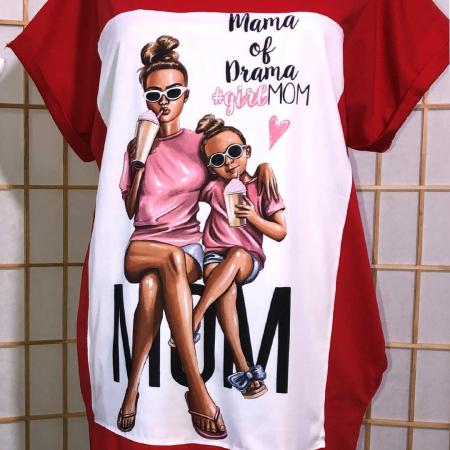 "Rochie tip tricou lung rosie ""Mama of drama""1"