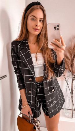 Costum Pantaloni Scurti + Sacou Negru Vera [1]