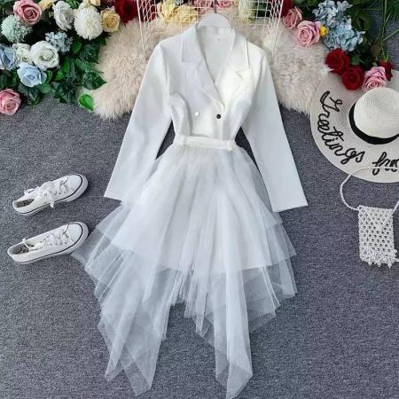 Set sacou alb lung + fusta din tulle0