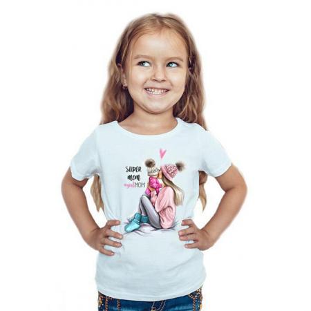 Tricou copii alb cu imprimeu Girl mom1