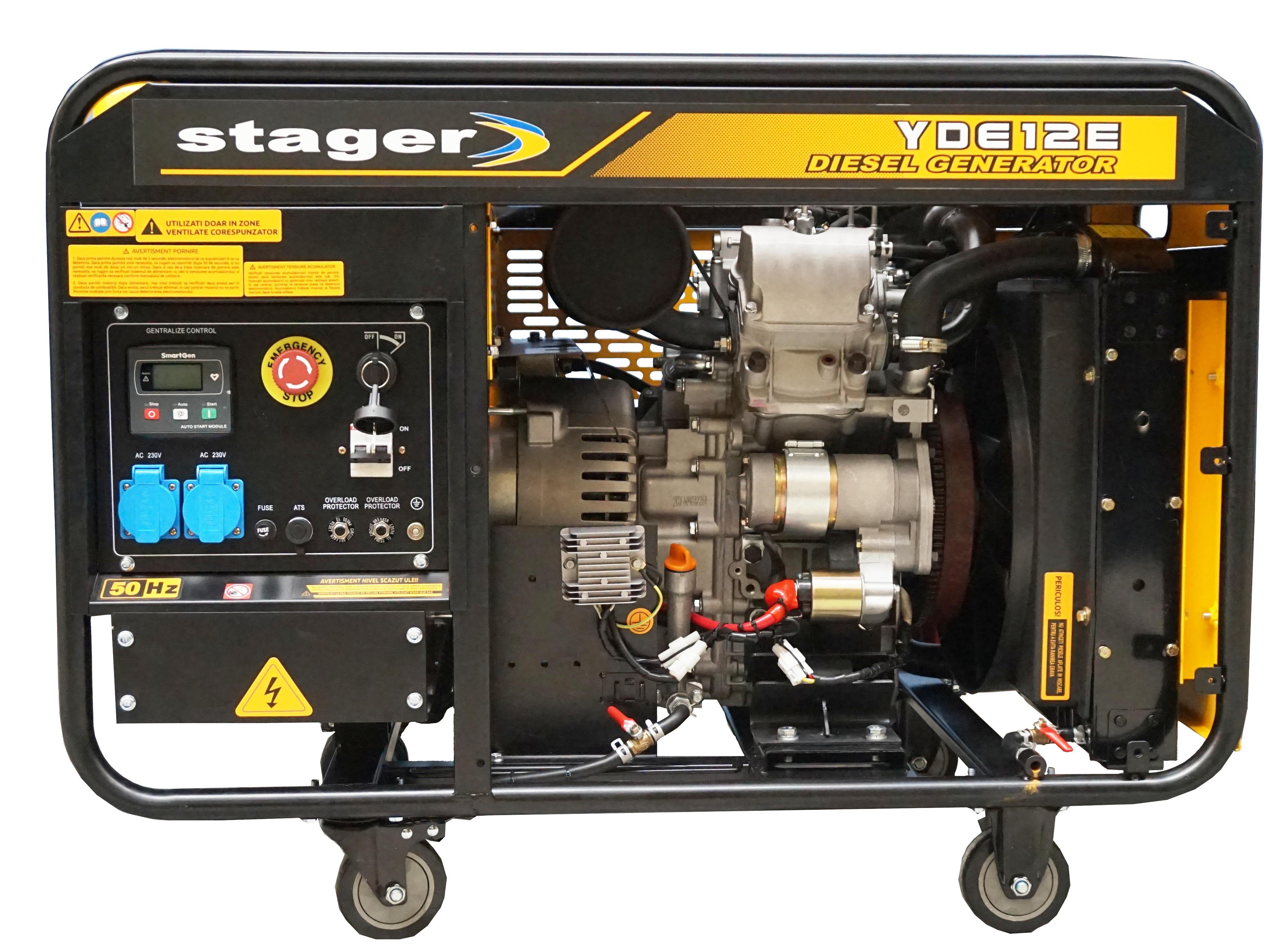 Stager YDE12E Generator open frame diesel monofazat, 8.5kW, pornire la cheie [0]