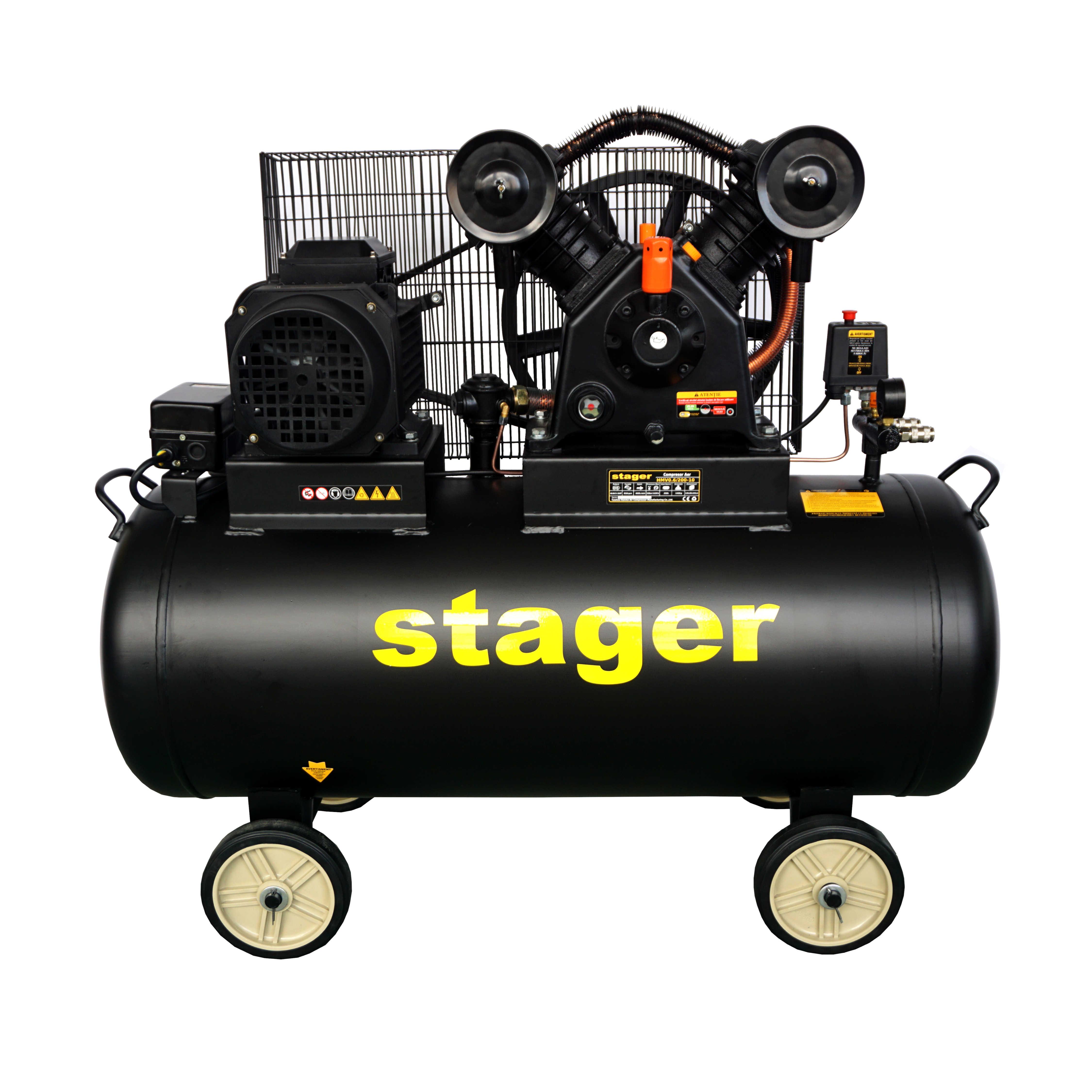 Compresor aer, 200L Stager HMV0.6/200-10, 10bar, 600L/min, trifazat, angrenare curea 0