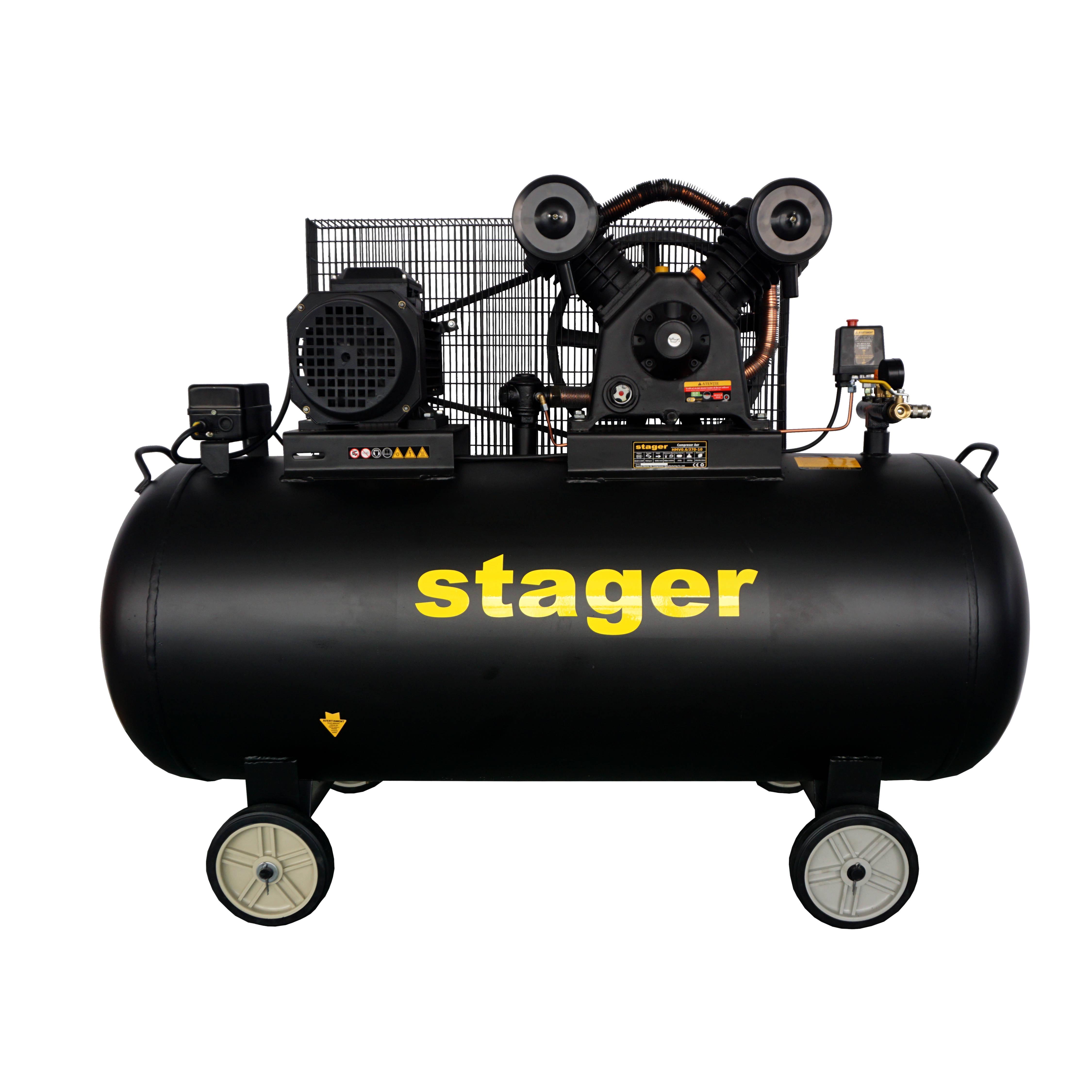 Compresor aer Stager HMV0.6/370-10, 370L, 10bar, 600L/min, trifazat, angrenare curea 0