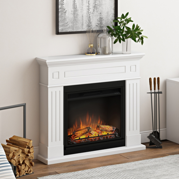 Semineu TAGU Larsen Pure White cu Focar Electric PowerFlame, 23 inch, FM462-WH1 + 23PF1A 1