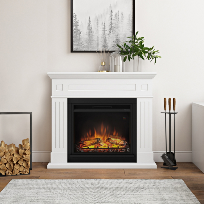 Semineu TAGU Larsen Pure White cu Focar Electric PowerFlame, 23 inch, FM462-WH1 + 23PF1A 3