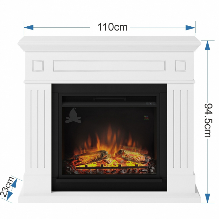 Semineu TAGU Larsen Pure White cu Focar Electric PowerFlame, 23 inch, FM462-WH1 + 23PF1A 4