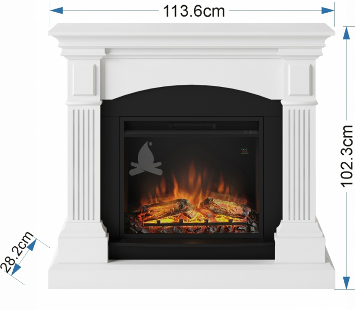 Semineu TAGU Magna Pure White cu Focar Electric PowerFlame, 23 inch, FM464-WH1 + 23PF1A 1