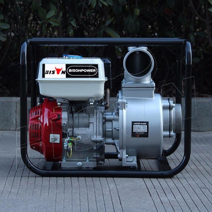 Motopompa Bison  BSWP40,  apa curata, 4'' intrare-iesire, motor pe benzina 4T, debit maxim 85m³/h, 8m adancime maxima, 30m inaltime refulare 0