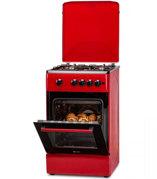Aragaz LDK 5060 A RED RMV LPG, Gaz, 4 Arzatoare, Siguranta, Aprindere electrica, Capac metalic, 50x60 cm, Rosu 2