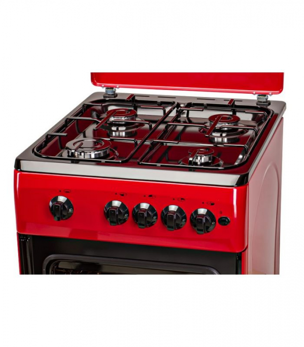 Aragaz LDK 5060 A RED RMV LPG, Gaz, 4 Arzatoare, Siguranta, Aprindere electrica, Capac metalic, 50x60 cm, Rosu 1