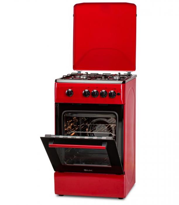 Aragaz LDK 5060 A RED RMV LPG, Gaz, 4 Arzatoare, Siguranta, Aprindere electrica, Capac metalic, 50x60 cm, Rosu 0