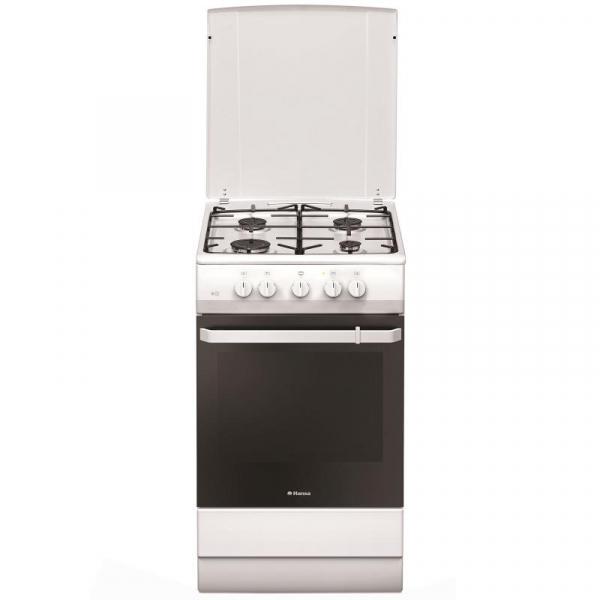 Aragaz Hansa FCGX53021, 4 arzatoare gaz, Cuptor gaz, Aprindere electrica, Grill, 50 cm, Inox 0