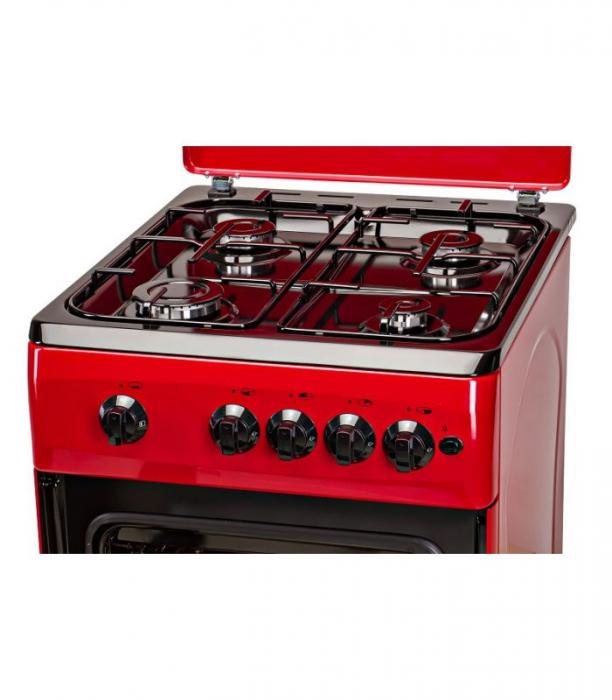 Aragaz LDK 5060 A RED RMV LPG, Gaz, 4 Arzatoare, Siguranta, Aprindere electrica, Capac metalic, 50x60 cm, Rosu 6