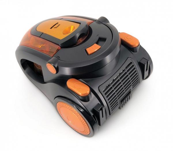 Aspirator fara sac Heinner Monarch HVC-V800BK, 800W, putere absorbtie >180W, 2.2L, tija telescopica din metal, accesorii 2 in 1, perie canapea, negru/orange 1