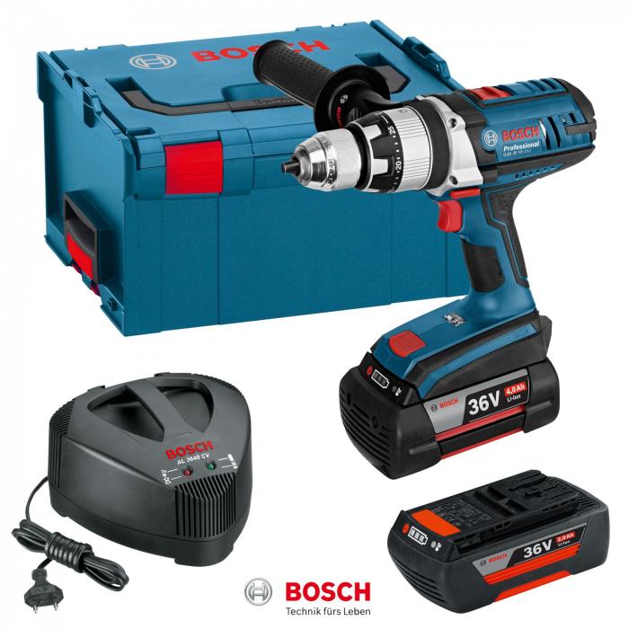 Bosch GSB 36 VE-2 LI Masina de gaurit cu percutie cu acumulator, 36V + 2 x Acumulatori GBA 36V 4.0Ah + Incarcator AL 3640 CV + L-Boxx 238 0