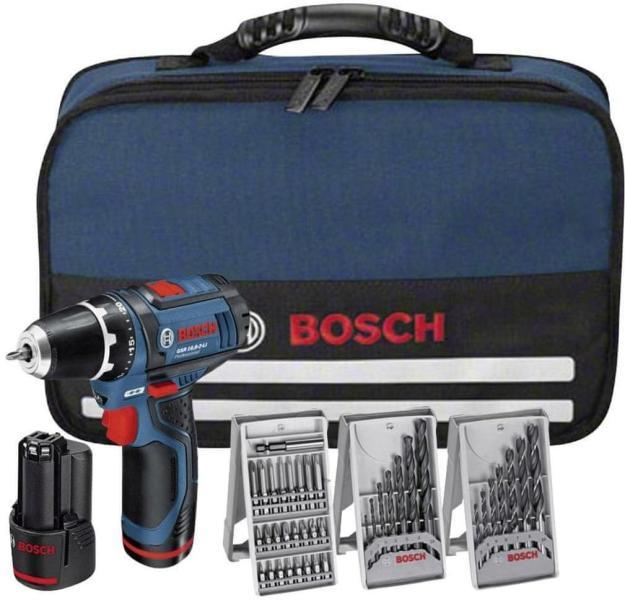 Bosch GSR 10.8 V-EC Masina de gaurit si insurubat cu acumulator, 10.8V + 2 x Acumulatori 1,5Ah + 3 seturi burghie + Geanta Toolbox 0